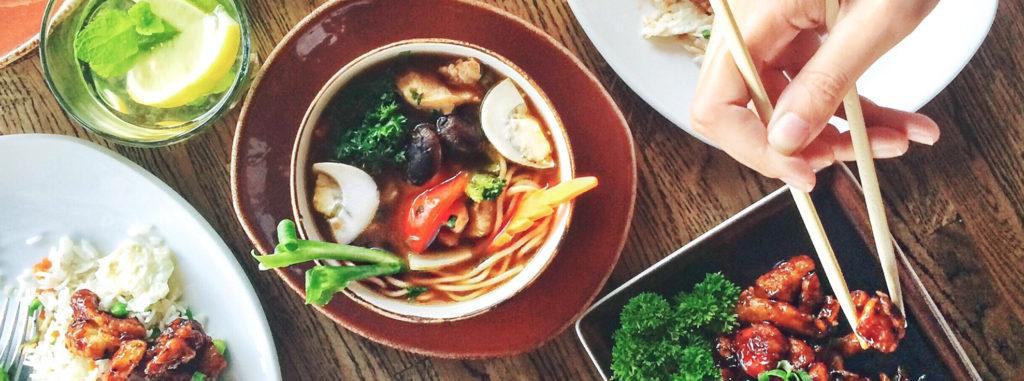 Meal meat vegetables chopsticks eating